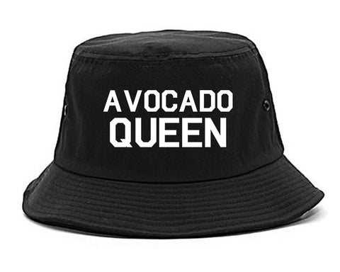 Avocado Queen Vegan Black Bucket Hat