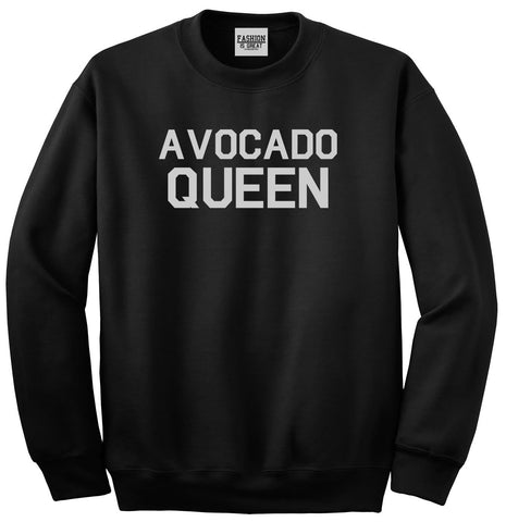 Avocado Queen Vegan Black Crewneck Sweatshirt