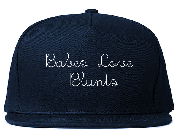 Babes Love Blunts Snapback Hat Blue