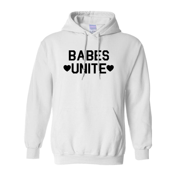 Babes Unite Hearts White Pullover Hoodie
