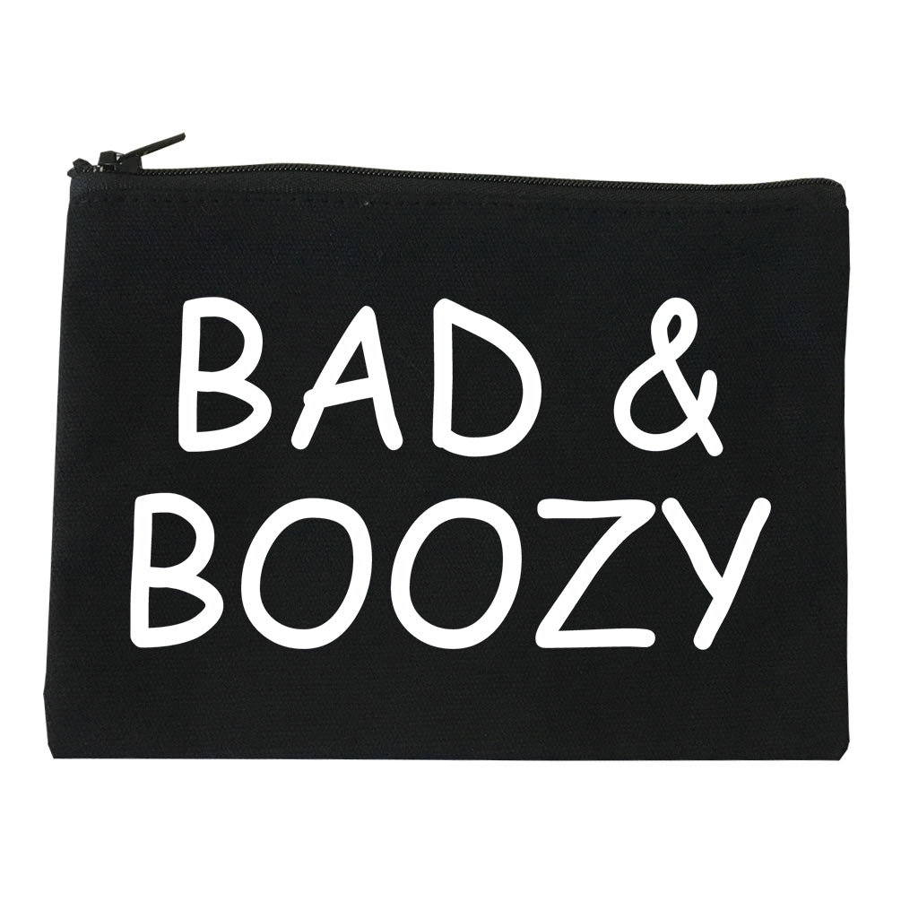Bad And Boozy Wine Funny Black Makeup Bag