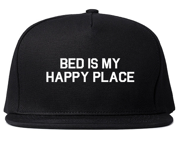 Bed Is My Happy Place Black Snapback Hat
