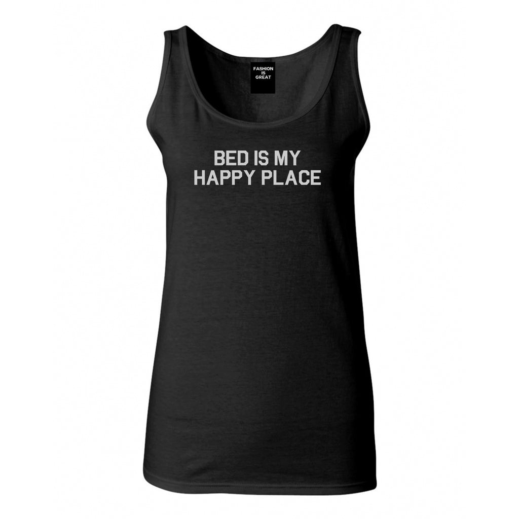 Bed Is My Happy Place Black Tank Top