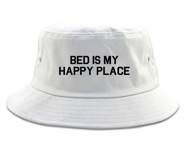 Bed Is My Happy Place White Bucket Hat