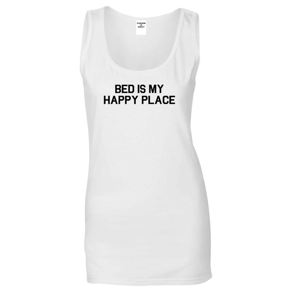 Bed Is My Happy Place White Tank Top
