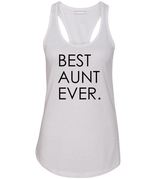 Best Aunt Ever Auntie Gift White Womens Racerback Tank Top