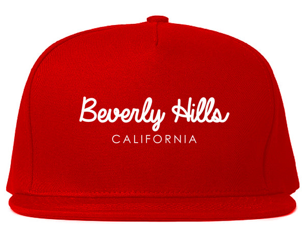 Beverly Hills California Snapback Hat Red