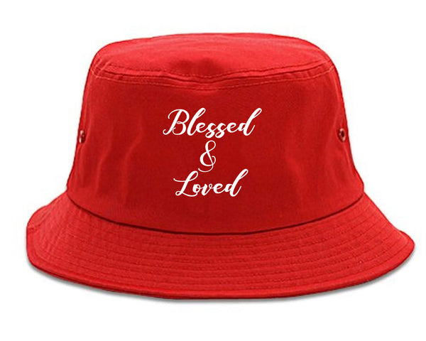 Blessed And Loved Red Bucket Hat