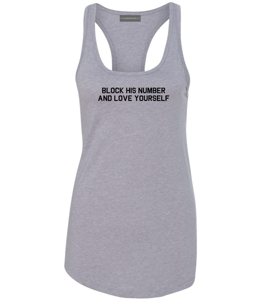 Block Love Yourself Funny Grey Womens Racerback Tank Top