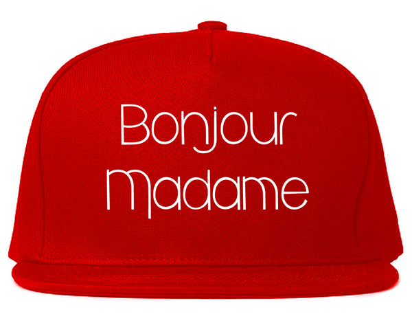 Bonjour Madame French Snapback Hat Red