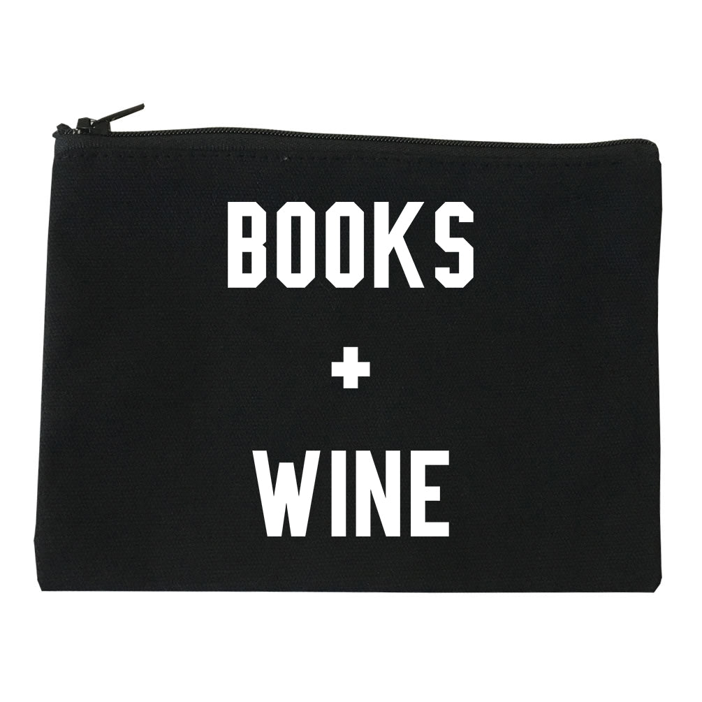 Books And Wine Black Makeup Bag