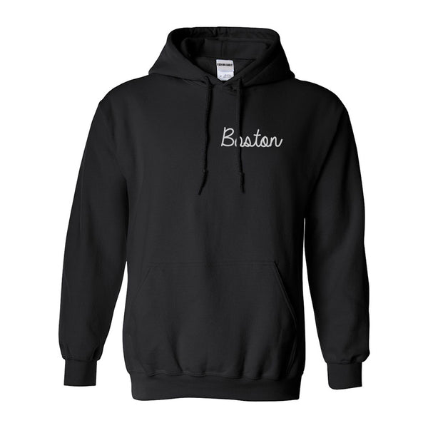 Boston Mass Script Chest Black Womens Pullover Hoodie