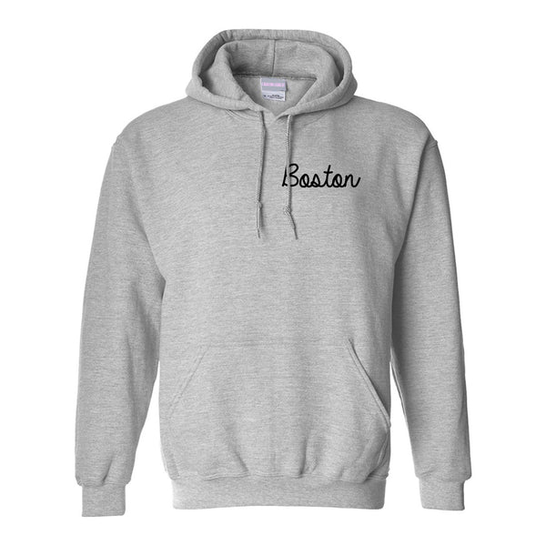 Boston Mass Script Chest Grey Womens Pullover Hoodie