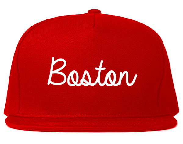 Boston Mass Script Chest Red Snapback Hat