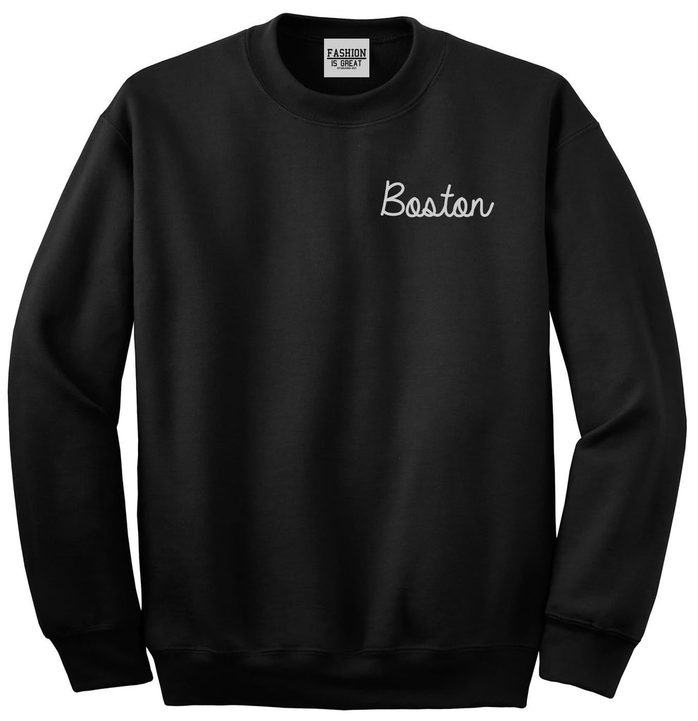 Boston Mass Script Chest Black Womens Crewneck Sweatshirt