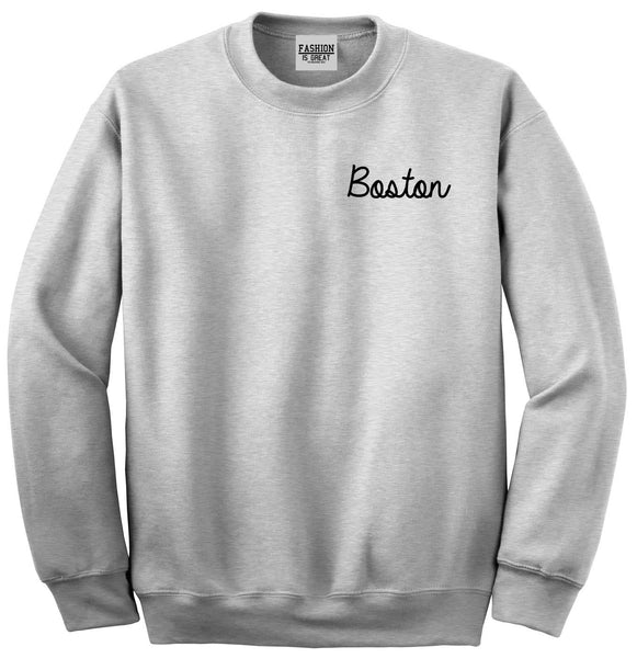 Boston Mass Script Chest Grey Womens Crewneck Sweatshirt