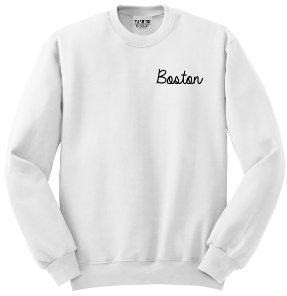 Boston Mass Script Chest White Womens Crewneck Sweatshirt