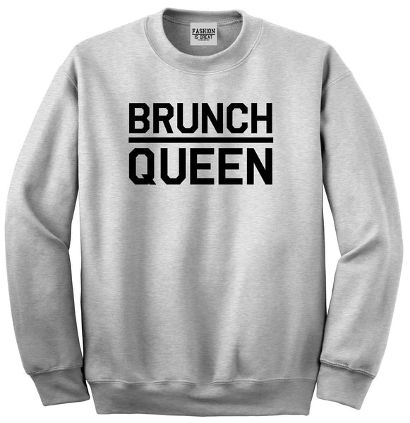 Brunch Queen Food Grey Womens Crewneck Sweatshirt