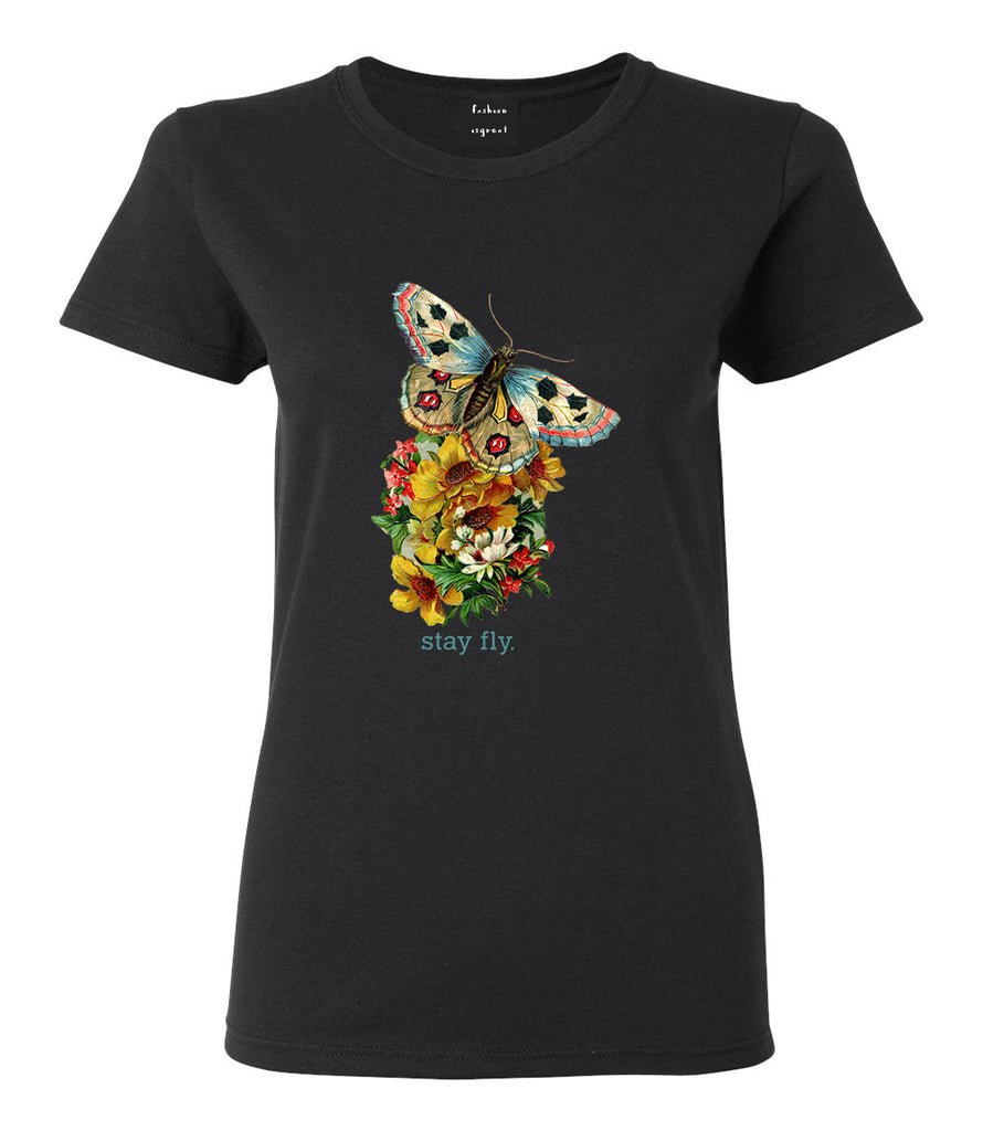 Butterfly Stay Fly Womens Graphic T-Shirt Black