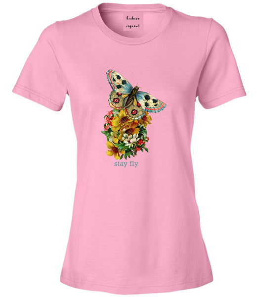 Butterfly Stay Fly Womens Graphic T-Shirt Pink