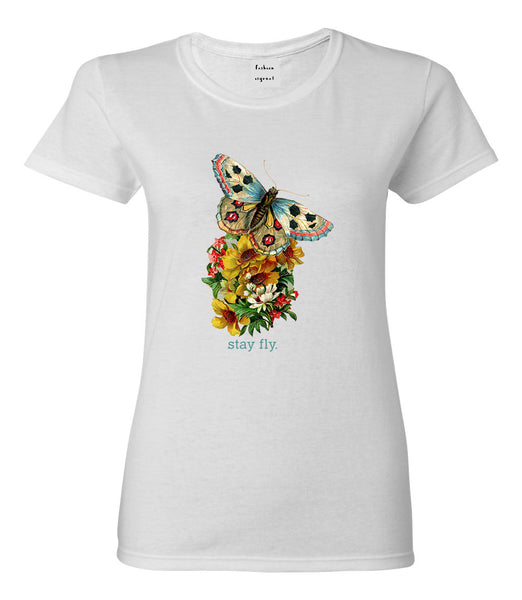 Butterfly Stay Fly Womens Graphic T-Shirt White