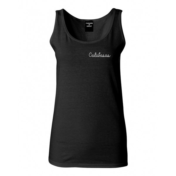 Calabasas CA Script Chest Black Womens Tank Top