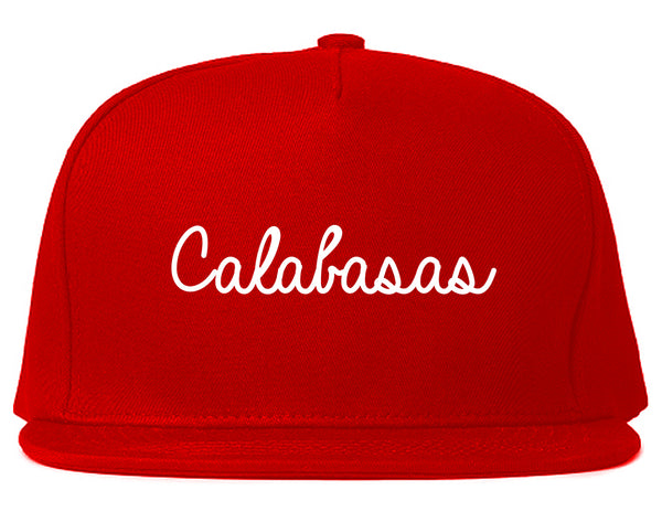 Calabasas CA Script Chest Red Snapback Hat