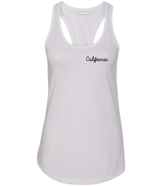 California CA Script Chest White Womens Racerback Tank Top