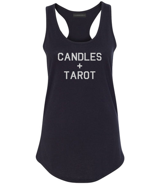 Candles And Tarot Cards Black Womens Racerback Tank Top