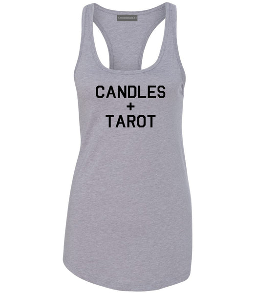 Candles And Tarot Cards Grey Womens Racerback Tank Top