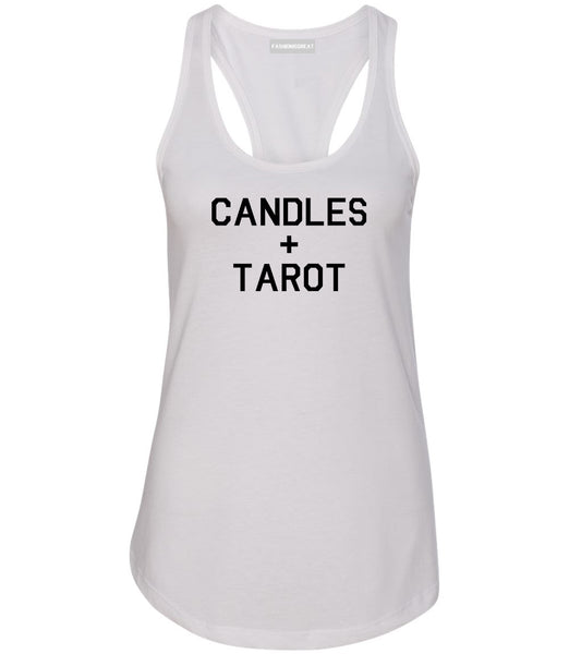 Candles And Tarot Cards White Womens Racerback Tank Top