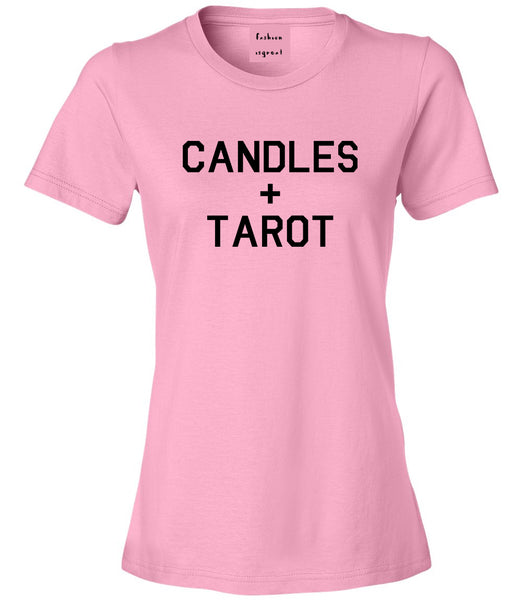 Candles And Tarot Cards Pink Womens T-Shirt