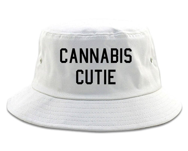 Cannabis Cutie Bucket Hat White