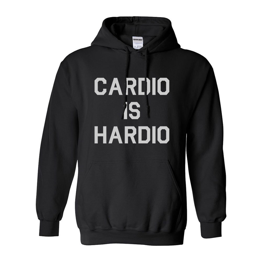 Cardio Is Hardio Funny Workout Black Womens Pullover Hoodie