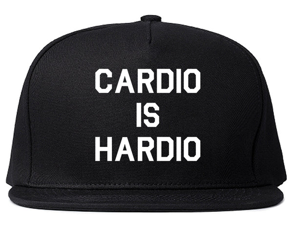 Cardio Is Hardio Funny Workout Black Snapback Hat