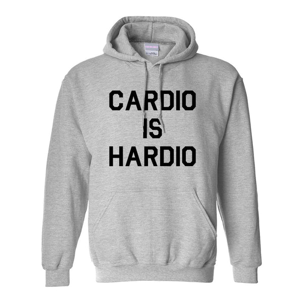Cardio Is Hardio Funny Workout Grey Womens Pullover Hoodie