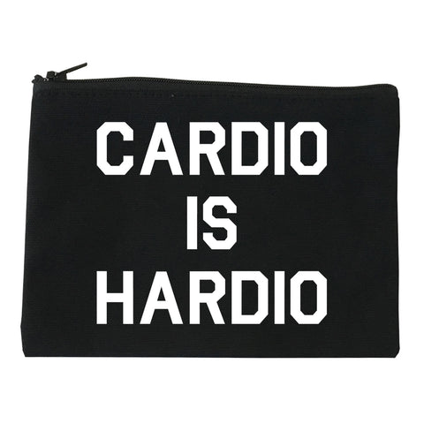 Cardio Is Hardio Funny Workout black Makeup Bag