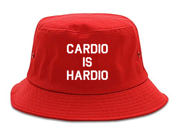 Cardio Is Hardio Funny Workout red Bucket Hat