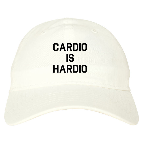 Cardio Is Hardio Funny Workout white dad hat
