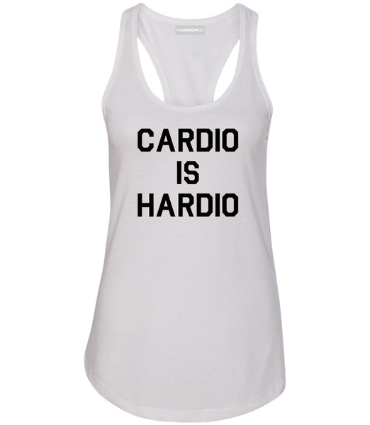 Cardio Is Hardio Funny Workout White Womens Racerback Tank Top