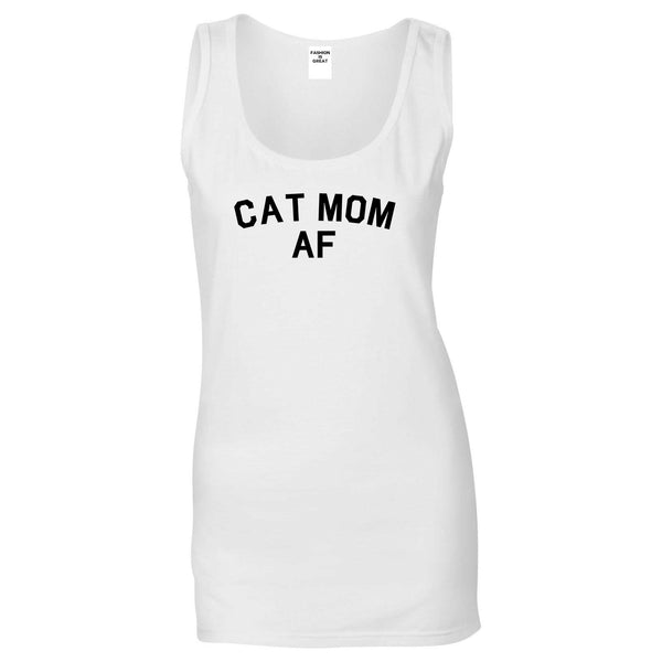 Cat Mom AF Pet Lover Mother Womens Tank Top Shirt White