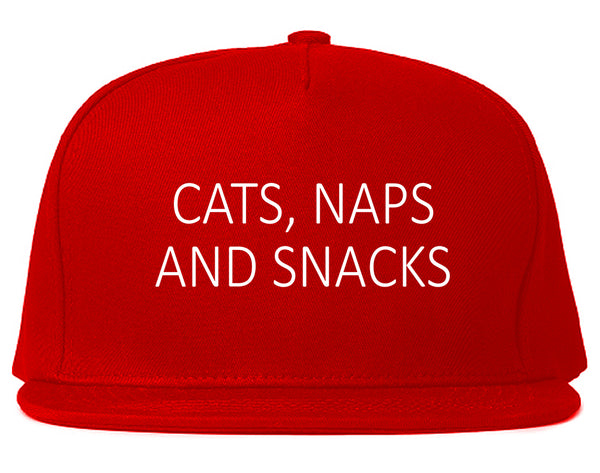 Cats Naps And Snacks Cat Lover Snapback Hat Red