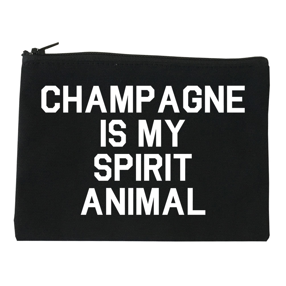 Champagne Is My Spirit Animal Black Makeup Bag