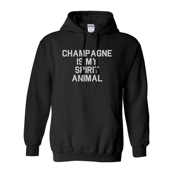 Champagne Is My Spirit Animal Black Pullover Hoodie