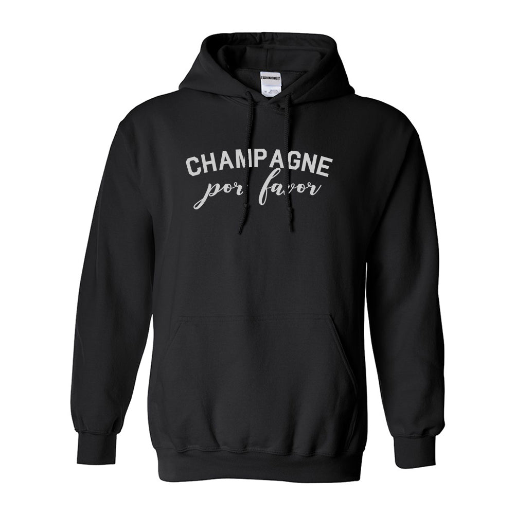 Champagne Por Favor Spanish Drinking Black Pullover Hoodie