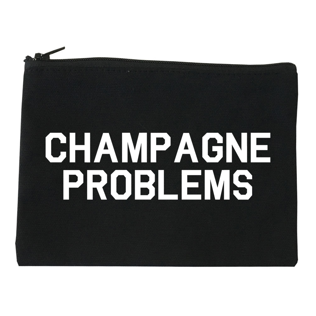 Champagne Problems Funny Drinking Black Makeup Bag