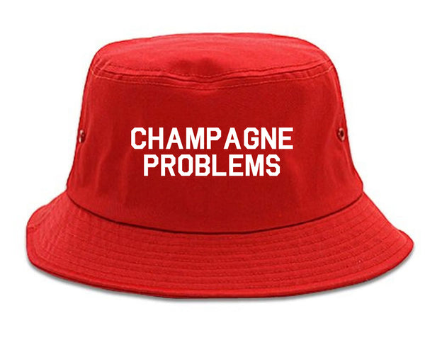 Champagne Problems Funny Drinking Red Bucket Hat