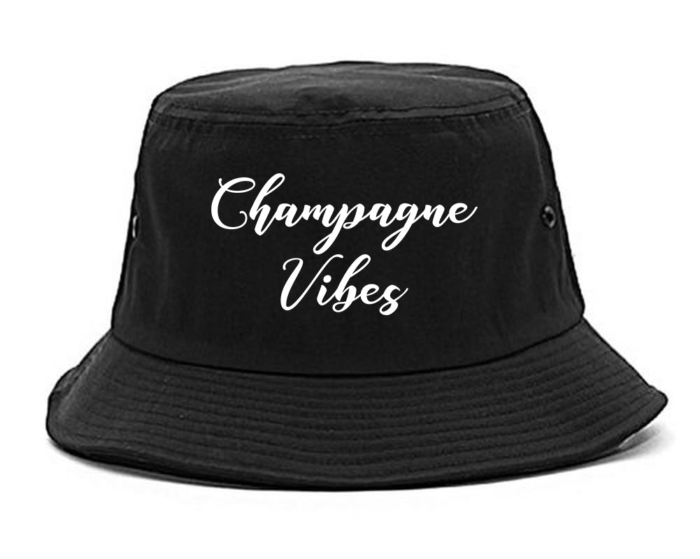 Champagne Vibes Only black Bucket Hat