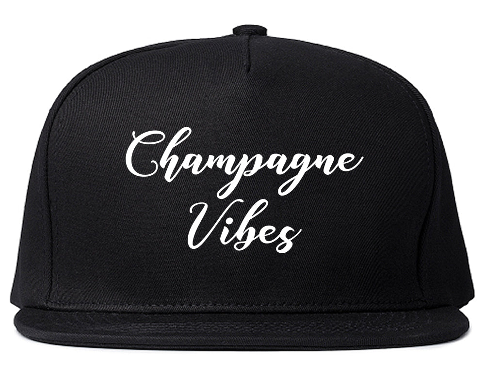 Champagne Vibes Only Black Snapback Hat
