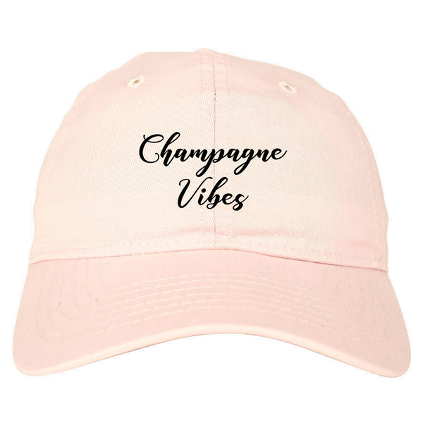 Champagne Vibes Only pink dad hat